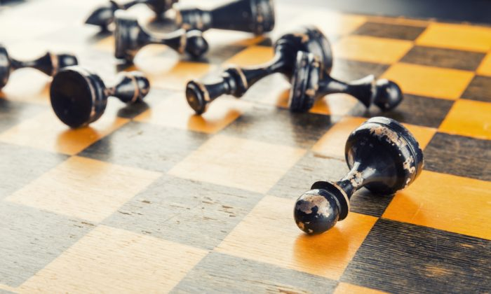 Chess figures defeated