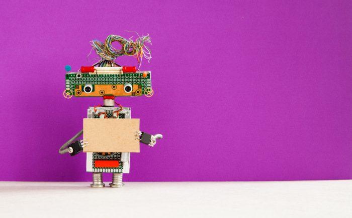 Robot with a cardboard card mockup.