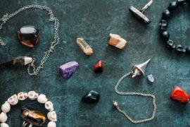 Magic flat lay. Various precious and semiprecious stones.