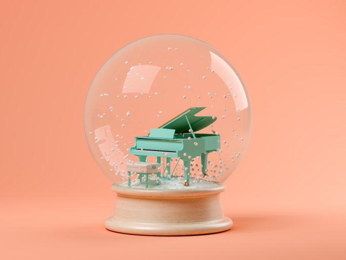 Snow globe with piano on a pink background 3D illustration