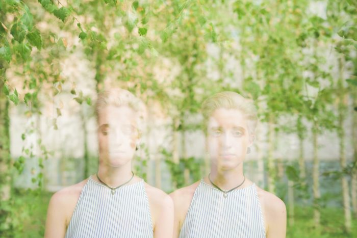 double exposure of young handsome caucasian woman