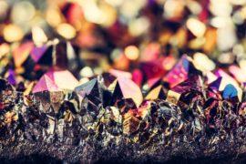 Mineral gemstone - rainbow aura crystal quartz.