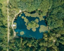 Pond in a forest drone shot